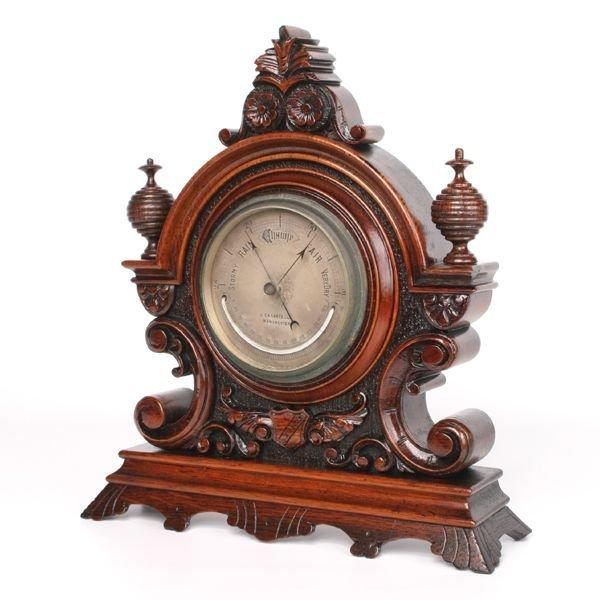 """12: Late 1800 Victorian mantle barometer, """" J. Casartel"""