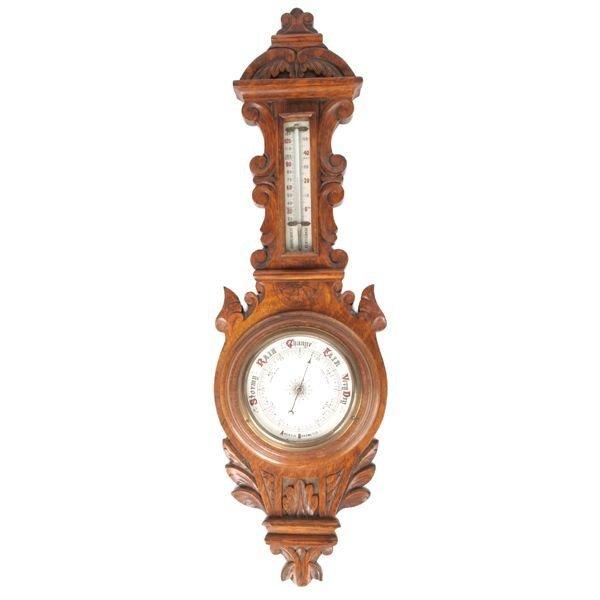13: Mid 1800 Rococo Victorian Aneroid barometer/thermom