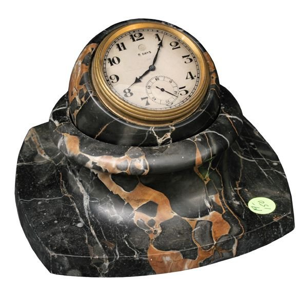 16: Fine black and gold marble desk clock, heavy brass