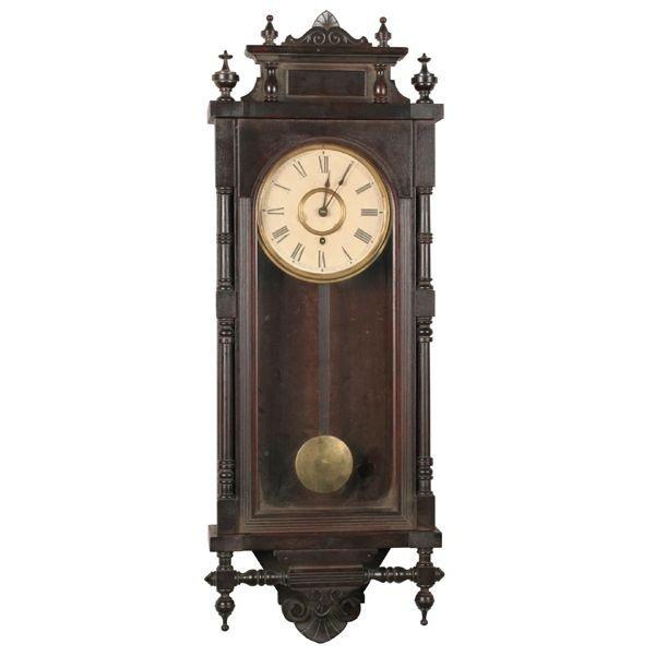 """17: Late 1800 hanging clock, Ansonia, """"Queen Elizabeth"""""""