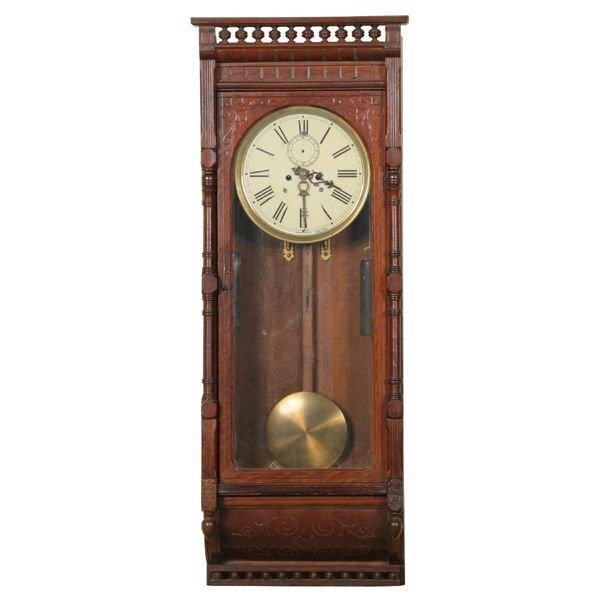 20: Late 1800 Aesthetic Victorian regulator wall clock,