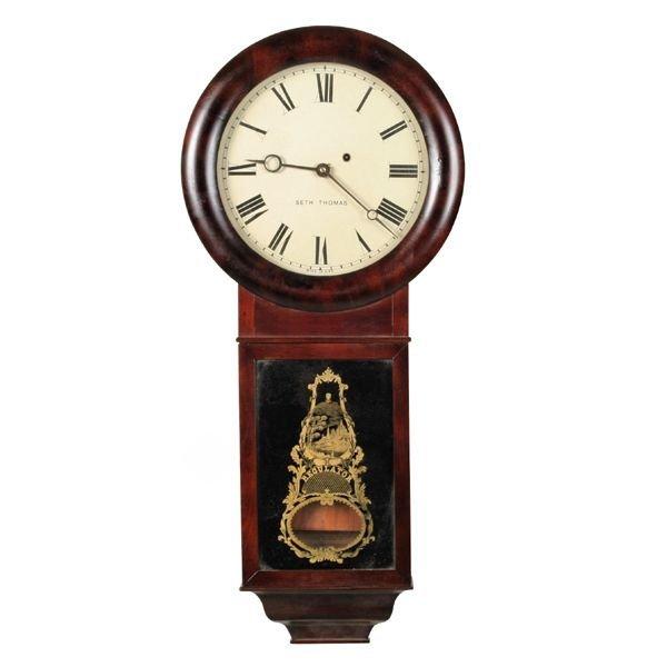 "23: Late 1800's regulator wall clock, ""Seth Thomas"", ma"
