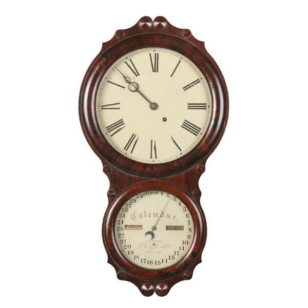 "24: Mid 1800's Victorian wall calendar clock, ""Seth Tho"