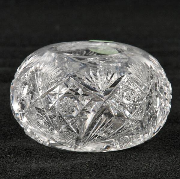 301: Rare size brilliant cut glass rose or violet bowl,