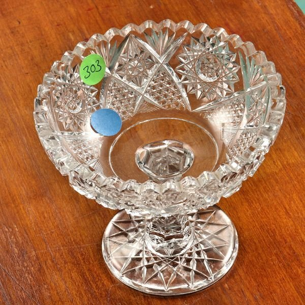 303: Small brilliant cut glass compote, hobstars, fine