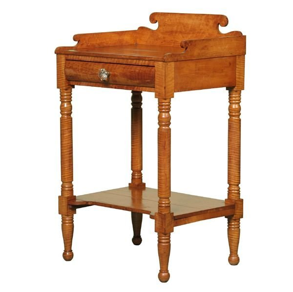 306: Early 1800 Sheraton one drawer stand, solid tiger