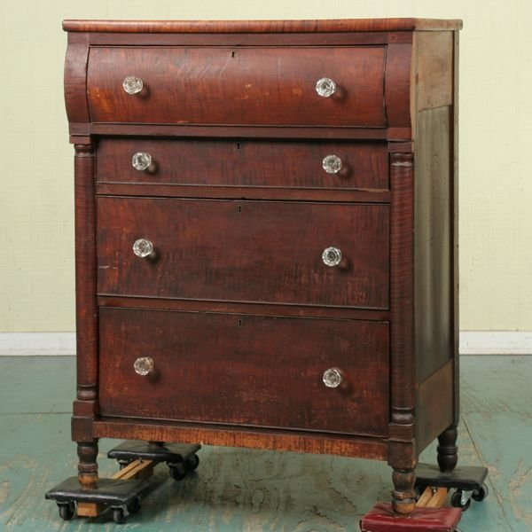 307: Early 1800's Sheraton four drawer chest, tiger map
