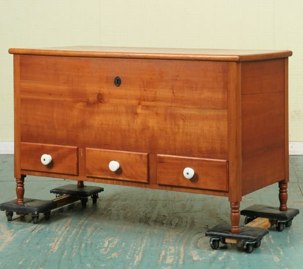 308: Early 1800 Sheraton blanket chest, solid cherry, t