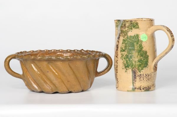 309: Lot of two pieces 19th century stoneware, 1) yello