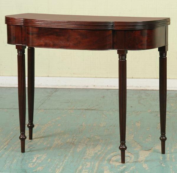 312: Early 1800 Sheraton card table, solid mahogany, pr