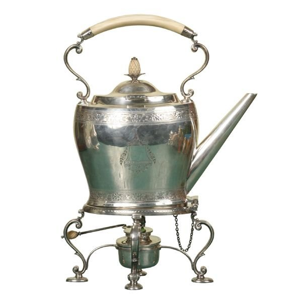 """313: Fine 19th century sterling teapot on stand, """"Howar"""