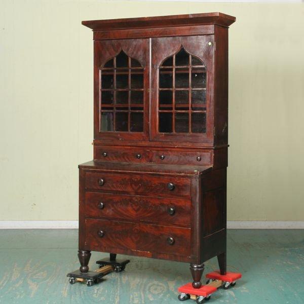 318: Early 1800 Empire secretary, matched flame mahogan