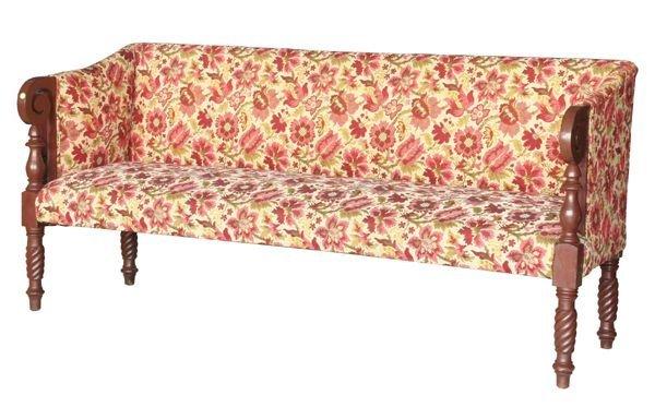 320: Early 1800 Sheraton sofa, mahogany, scrolled arms,