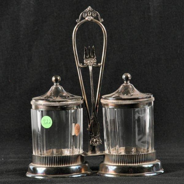"322: Victorian silverplate double castor set, ""Simpson,"