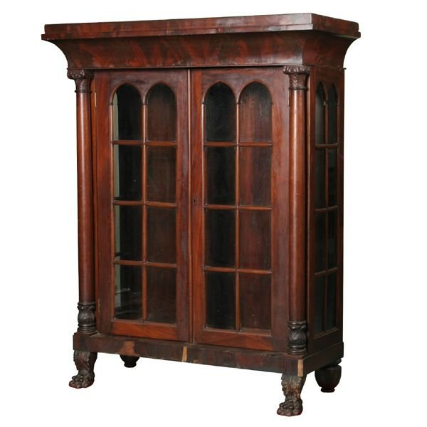 370: Rare mid 1800 Federal china cabinet, solid and mat