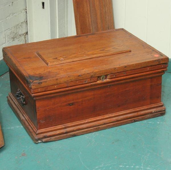 1003: 19th century tool chest, mixed woods, raised pane