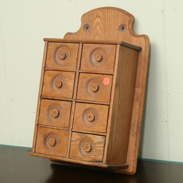 1005: 19th Century hanging spice cabinet, solid ash, ei