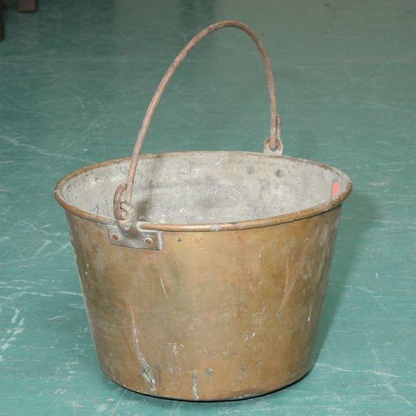 1014: 19th Century solid brass bucket, blacksmith wroug