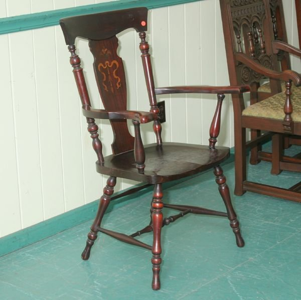 1016: Early 1900 Colonial Revival arm chair, mahogany,