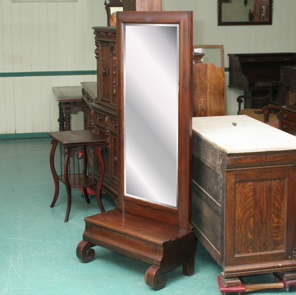 1021: Early 1900 Empire Revival chevel or hall mirror,