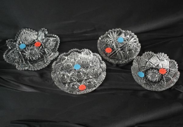 1022: Lot of four brilliant cut glass nappies/one plate