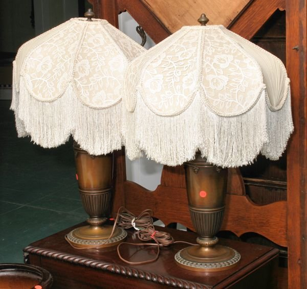 """1108: Pair of heavy bronze table lamps, signed """"Tiffany"""
