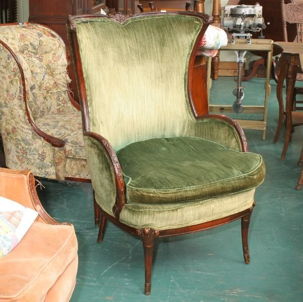 1205: Two mid 1900's barrel back chairs, 1) green uphol