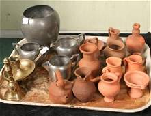 1410: Miniature pottery/metal and brass lot, thirteen c
