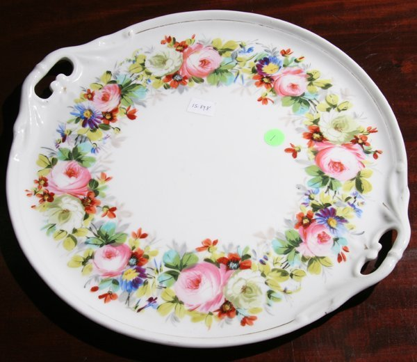 """1: 19th Century Old Paris tray, 15""""d, open scrolled han"""