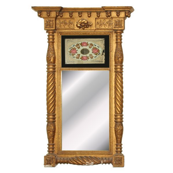 3: Early 1800's Federal two part mirror, original gilt