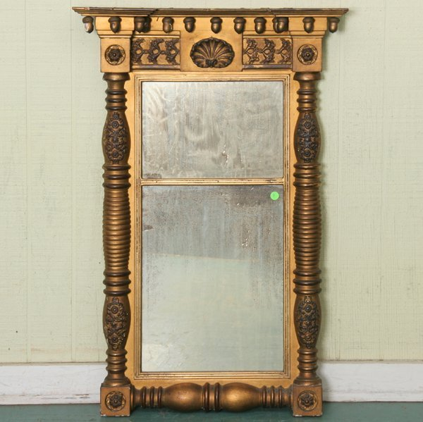 8: Early 1800's Federal two part mirror, original gilt