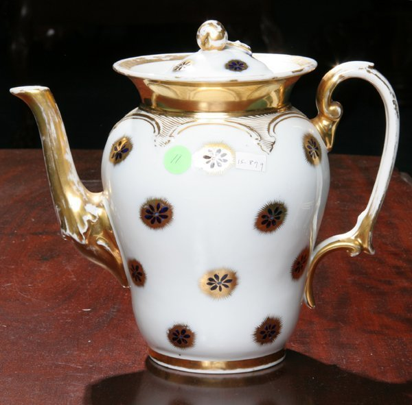 11: Rococo Old Paris teapot, pear shaped body, scrolled