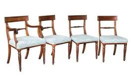 13: Set of six early 1800 Sheraton dining chairs, mahog