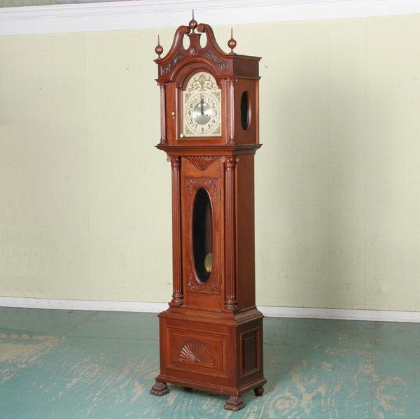 14: 19th c Chippendale grandfather clock, Seth Thomas