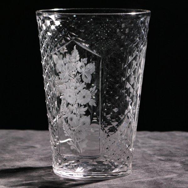 """15: Early 1900 American brilliant cut glass vase, """"Hawk"""