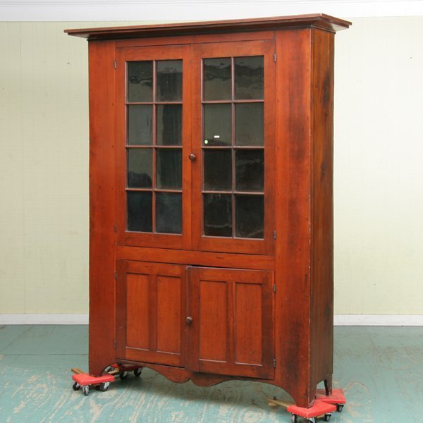 18: Large early 19th Century wall cupboard, solid cherr