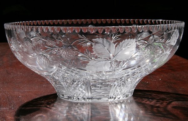 """19: Large finely cut glass bowl, signed """"Webb"""", well do"""