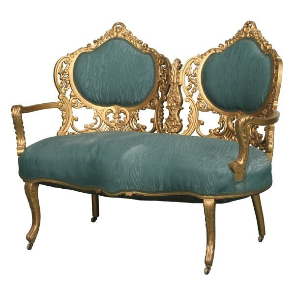 148: 1880 Rococo Victorian two piece suite, loveseat an