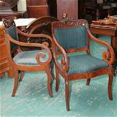 209: Pair of mid 1800 Empire scroll arm dining chairs,