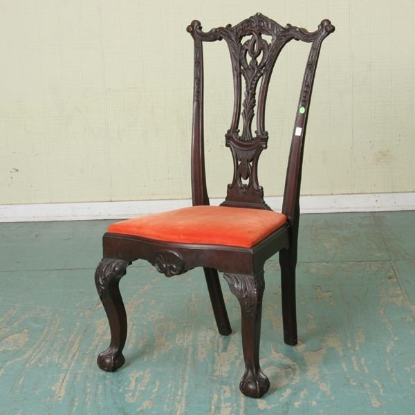 255: Fine late 19th century Chippendale Revival chair,