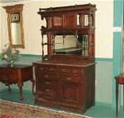 270 1880 Eastlake Victorian sideboard solid walnut b