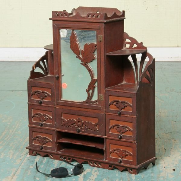1005: Late 1800's Victorian spice cabinet, soft wood, i