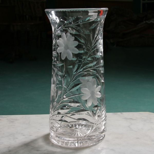1007: Brilliant American cut glass vase, floral motif,