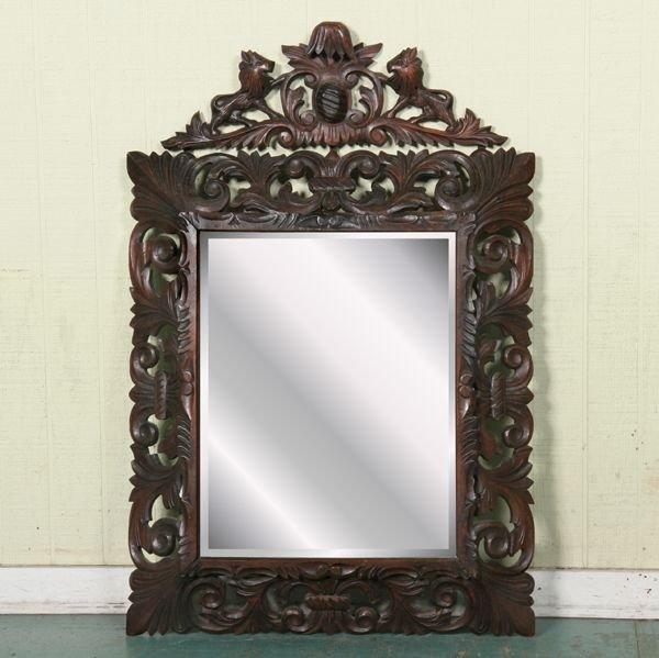 1016: Circa 1900 Jacobean Revival mirror, carved fruitw