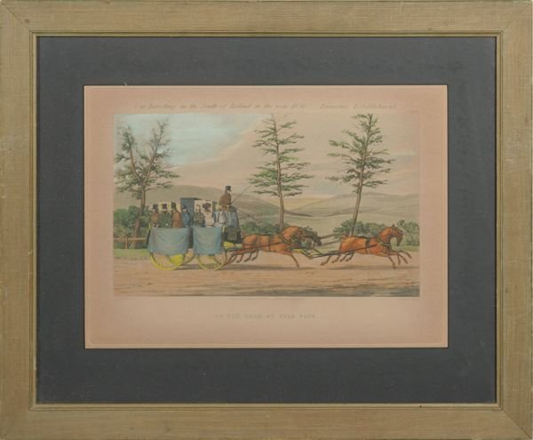 """1017: Pair of mid 1800's prints, """"Car Traveling in Sout"""