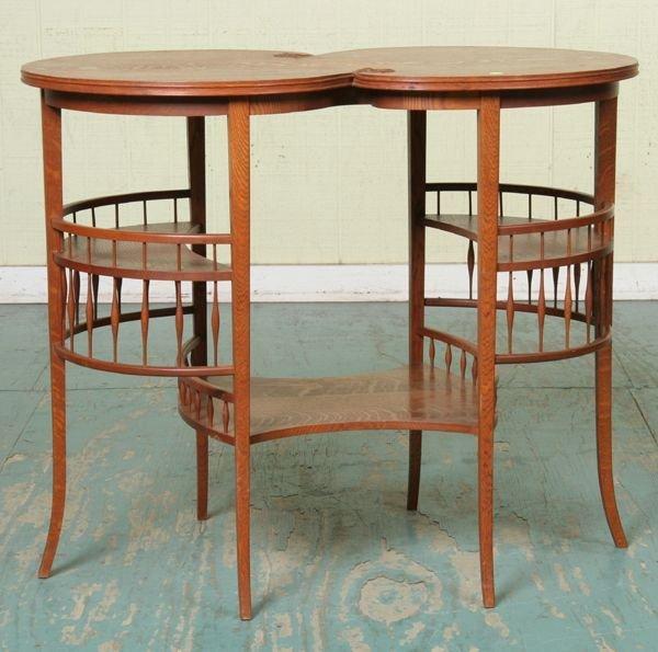 1019: Unusual late 1800 Art Nouveau center table, tiger