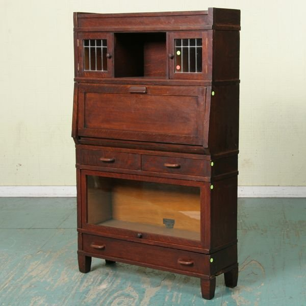 """1021: Early 1900 Arts and Crafts stack desk/bookcase, """""""