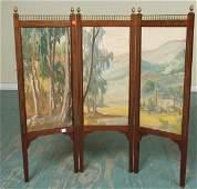 1056 Early 1900 triple folding screen oil on canvas p