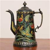 1091: Victorian teapot, tole painted floral decorations