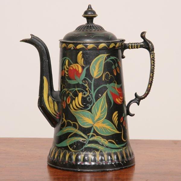 1091: Victorian teapot, tole painted floral decorations